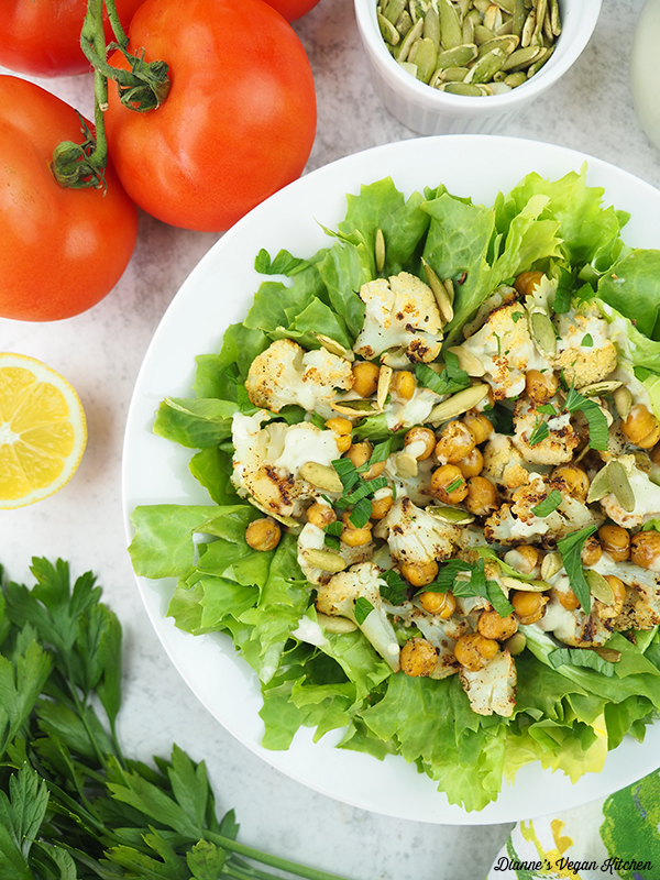 Roasted Cauliflower Salad with pumpkin seeds and tomatoes