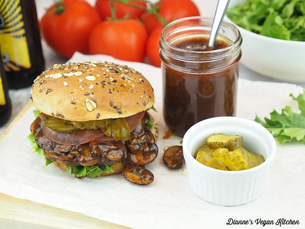 Pulled Mushroom Sandwiches with bbq sauce and pickles