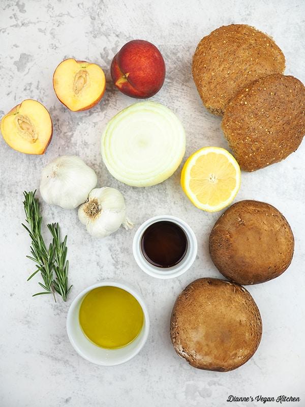 peaches, buns, mushrooms, onion, lemon, olive oil, soy sauce, rosemary, and garlic