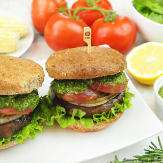 Grilled Portobello Sandwiches with tomatoes and salad square