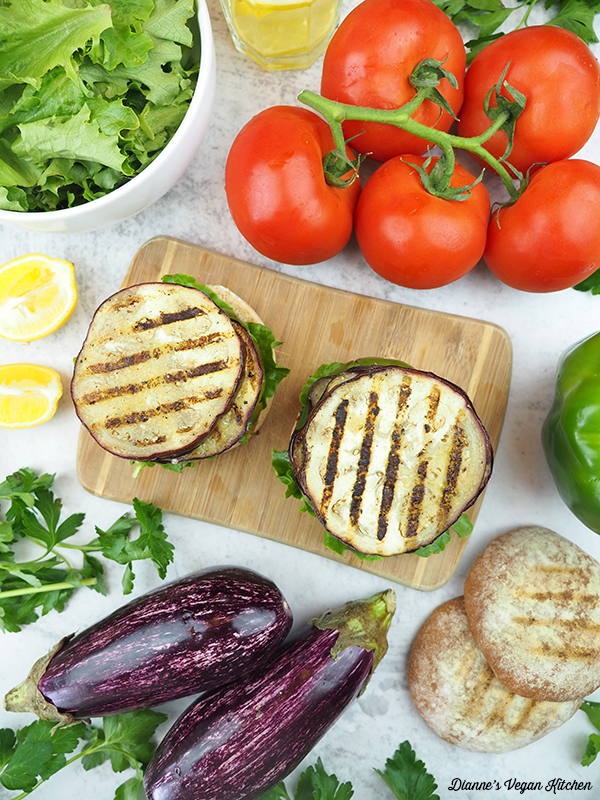 Grilled Eggplant Sandwiches with vegetables