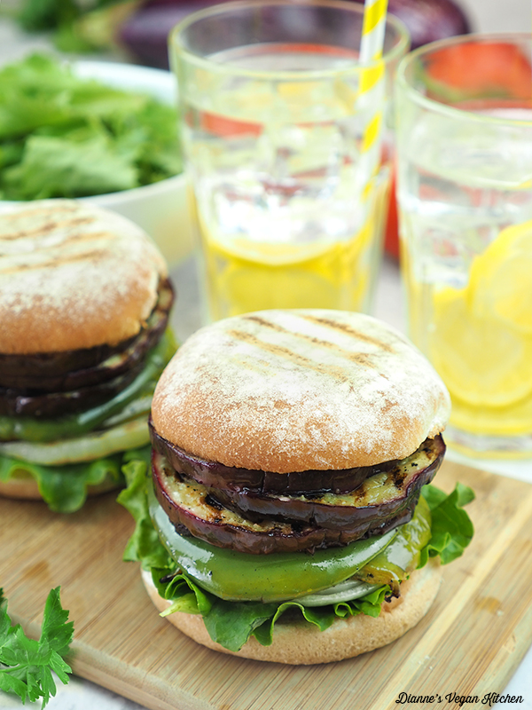 two Grilled Eggplant Sandwiches