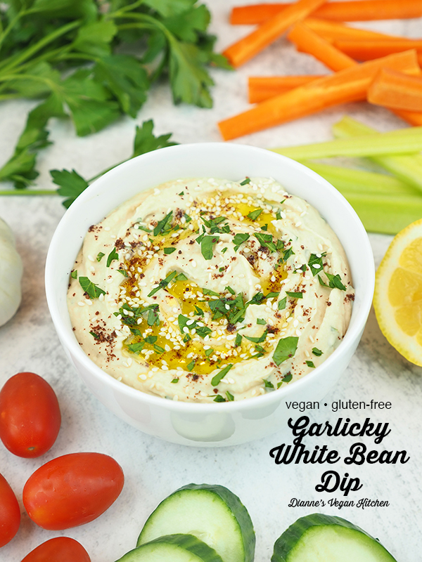 Garlicky White Bean Dip with text overlay