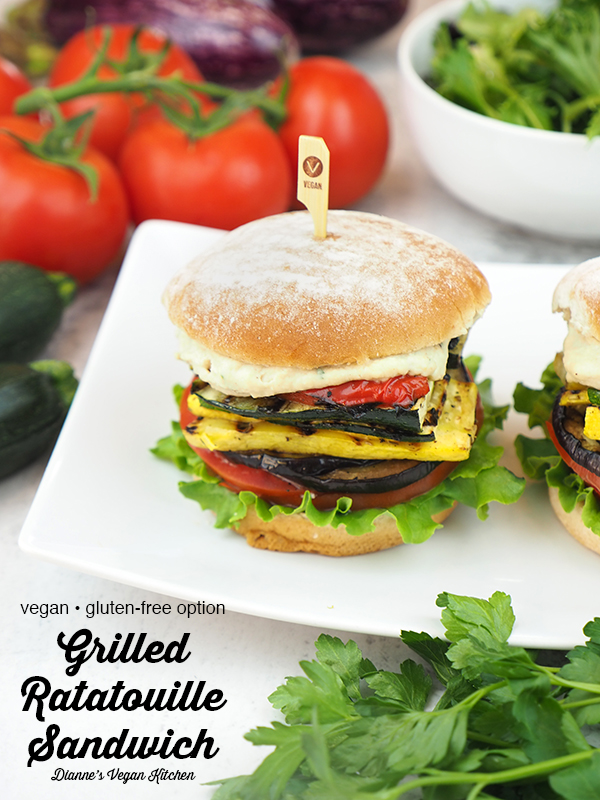 grilled ratatouille sandwiches in platter with text overlay
