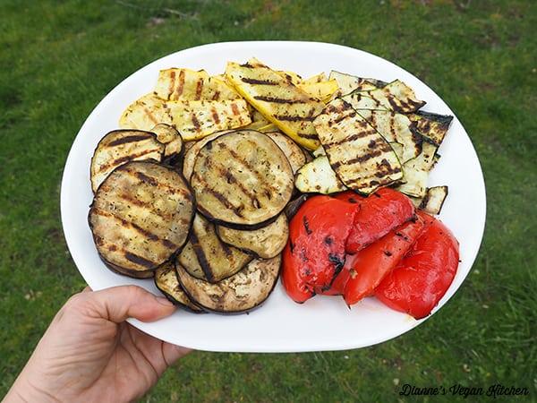 grilled vegetables on platter