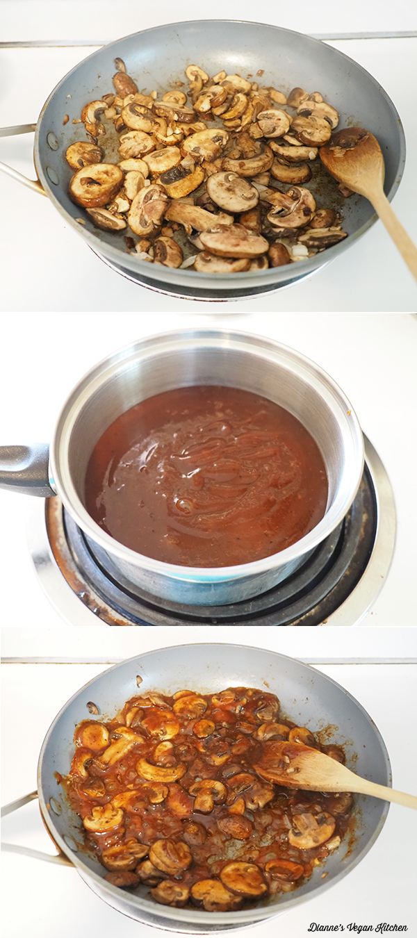 cooking mushrooms and bbq sauce
