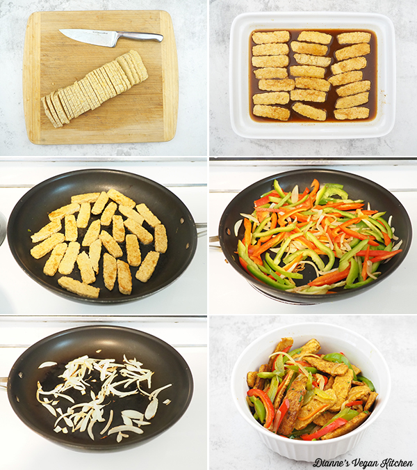 cooking tempeh and peppers collage