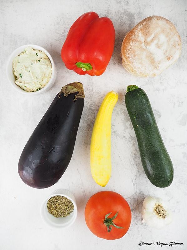 pepper, zucchini, squash, eggplant, tomato, white bean dip, garlic, spices, rolls