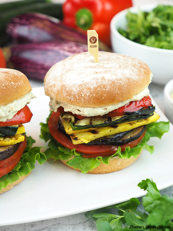 grilled ratatouille sandwiches with lettuce, eggplant and pepper