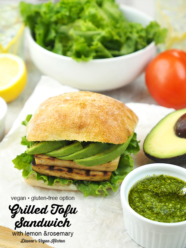Grilled Tofu Sandwich with text overlay