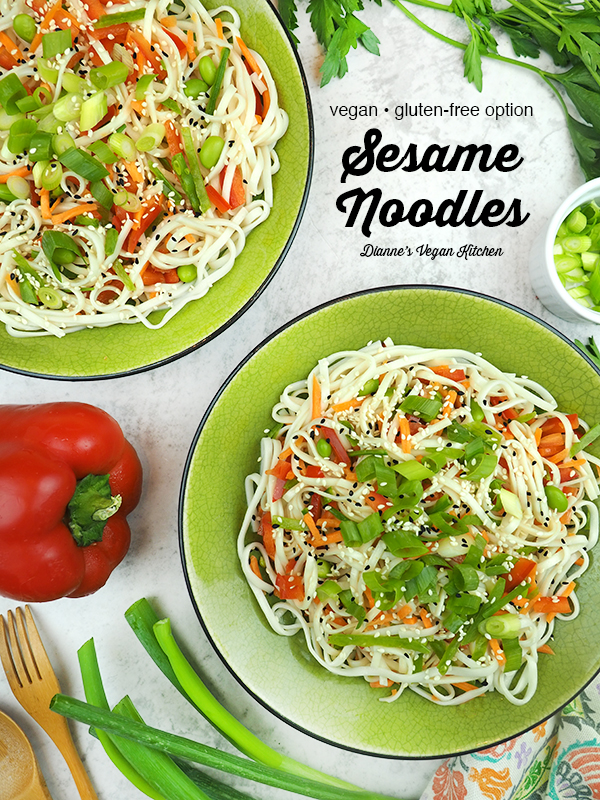 sesame noodles with text overlay