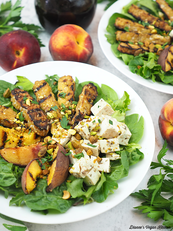 Grilled Tempeh Salad with text overlay with peaches and dressing