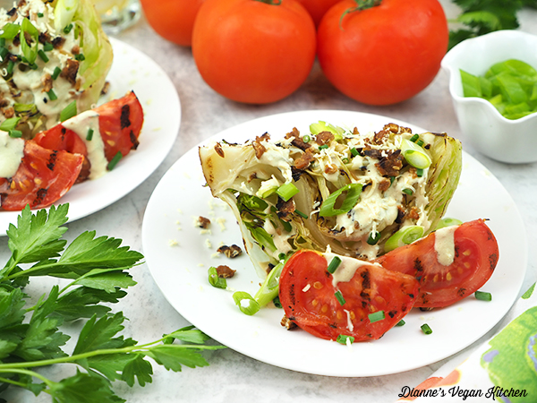 Grilled Wedge Salad horizontal with tomatoes and scallions