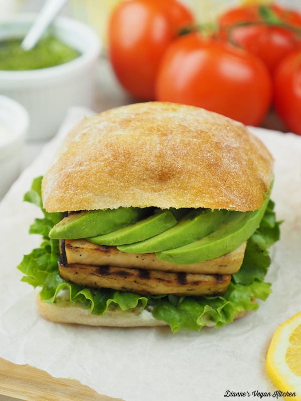 Grilled Tofu Sandwich with tomatoes
