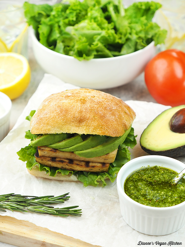 grilled tofu sandwich with pesto and avocado