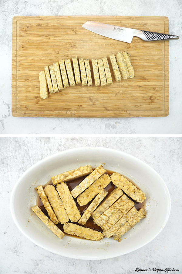 sliced and marinaded tempeh