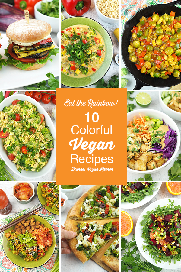 Eat the Rainbow colorful vegan recipes collage