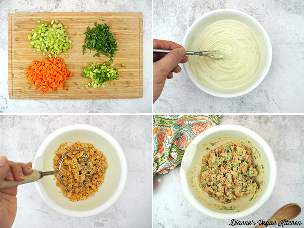 making chickpea salad collage
