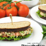 Tahini Chickpea Sandwich with text overlay