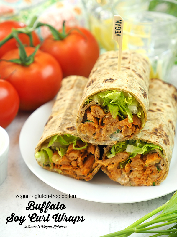 Buffalo Soy Curl Wraps with text overlay