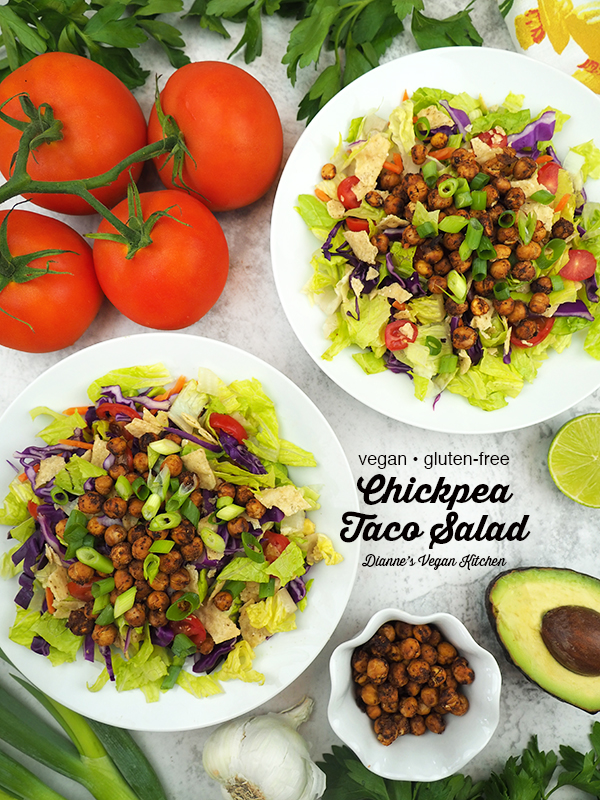 Chickpea Taco Salad with text overlay