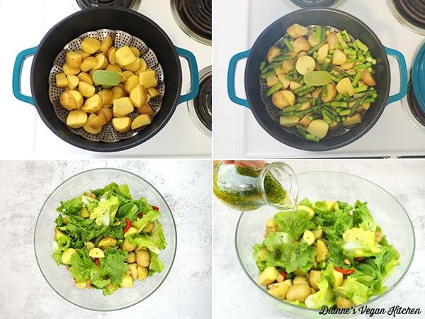 making salad collage