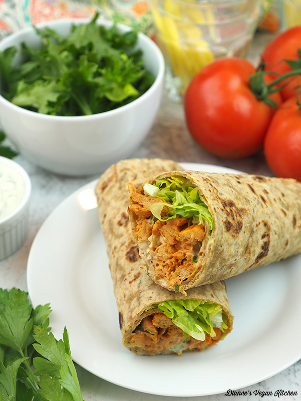 buffalo soy curl wraps with lettuce and tomatoes