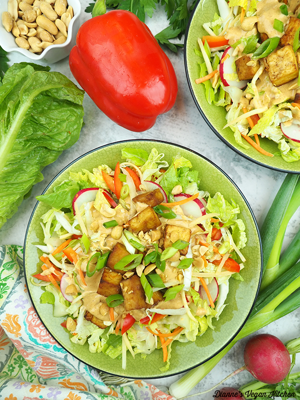 two bowls of salad with pepper, radishes, lettuce, and peanuts
