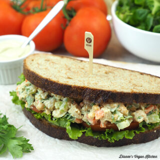 Tahini Chickpea Sandwich with tomatoes, tahini, and salad