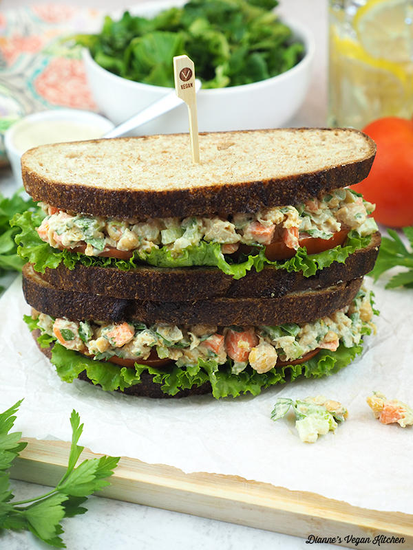 stack of two chickpea sandwiches