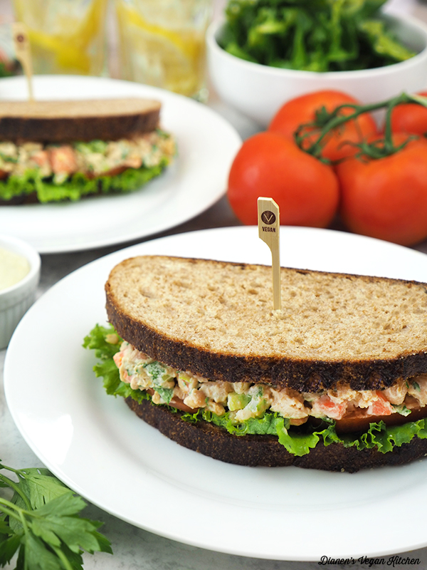 two plates with chickpea sandwiches