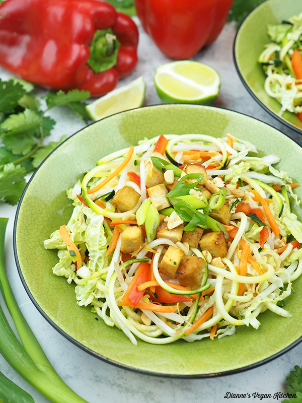 Peanutty Pad Thai Zoodles scallions, limes, and peppers