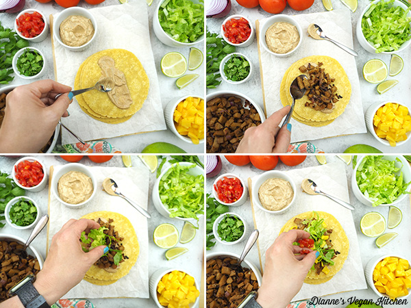 assembling tacos collage