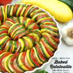 Baked Ratatouille with text overlay