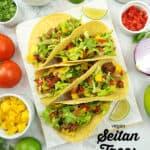 Seitan Tacos with text overlay