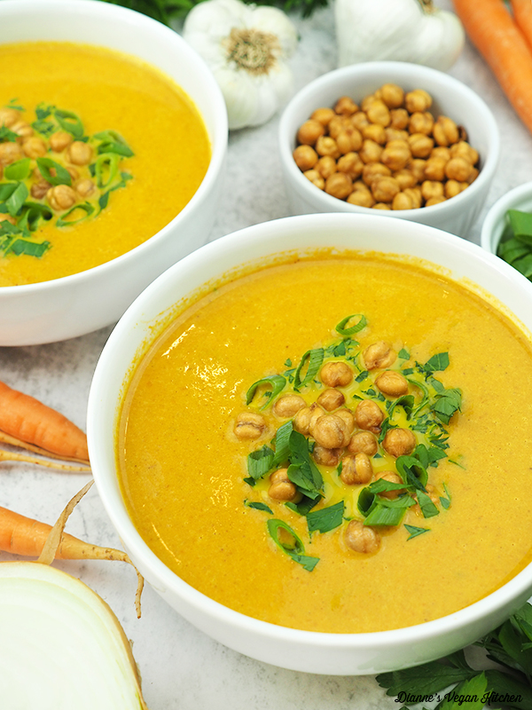 soup with carrots, chickpeas, and parsley