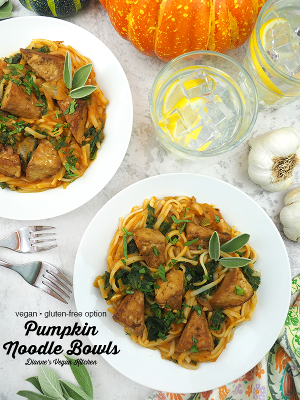 Pumpkin Noodle Bowl with text overlay