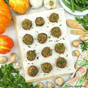 stuffed mushrooms with pumpkins, green beans, garlic, and parsley