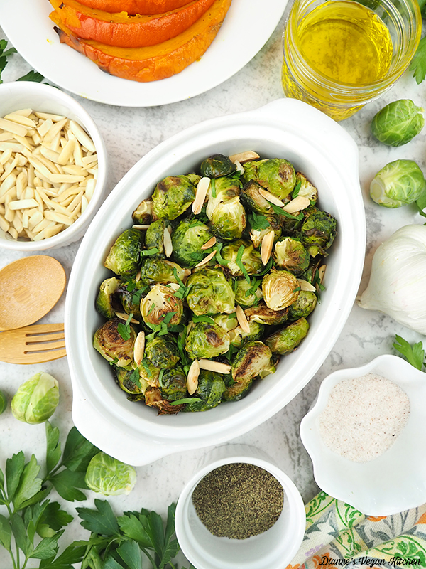 sprouts with roasted squash, almonds, and seasonings