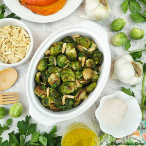 Roasted Brussels Sprouts with almonds, garlic, roasted squash, and seasonings