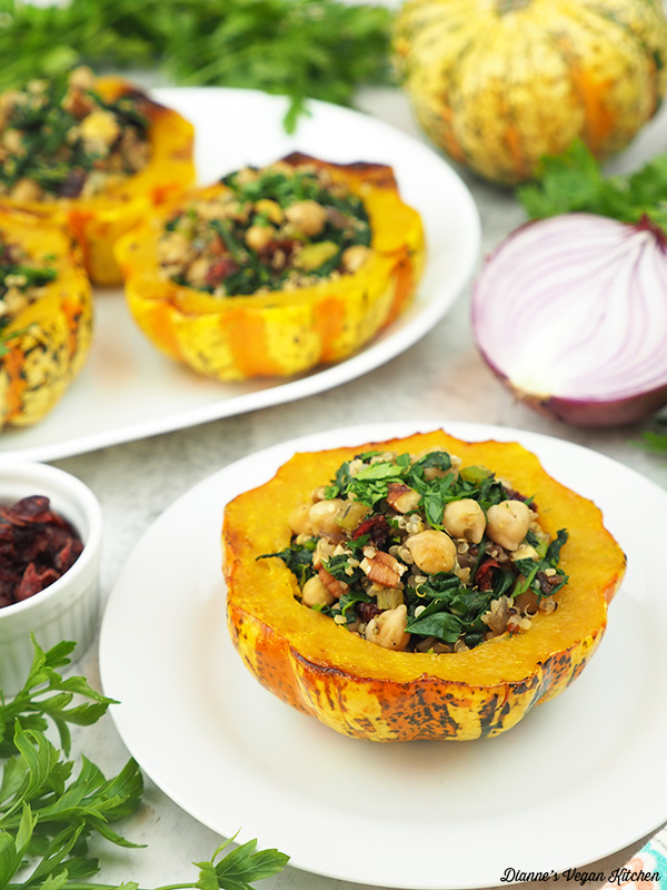 stuffed squash with onion, parsley, and dried cranberries