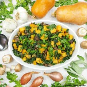 dish of polenta stuffing with squash, garlic, mushrooms, shallots, and fresh herbs