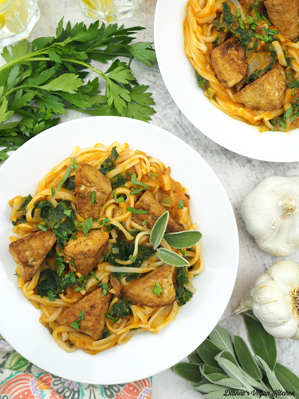 two Pumpkin Noodle Bowls with garlic and sage