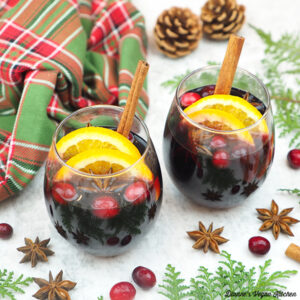 mulled wine with spices and cranberries square