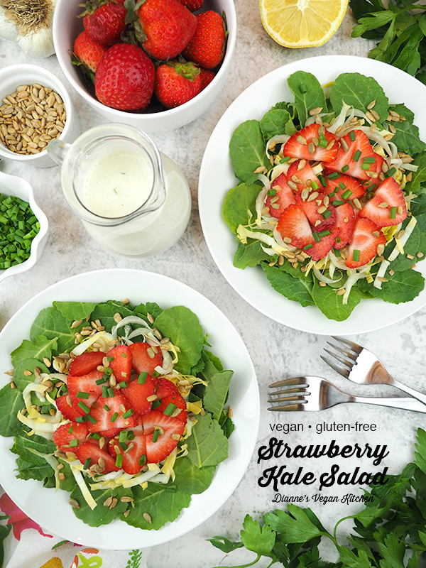 Strawberry Kale Salad with text overlay