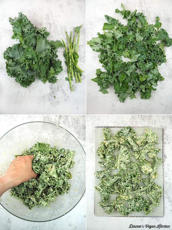 making kale chips collage